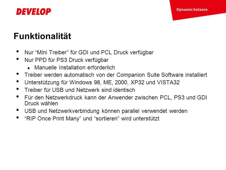 Funktionalität Nur Mini Treiber für GDI und PCL Druck verfügbar
