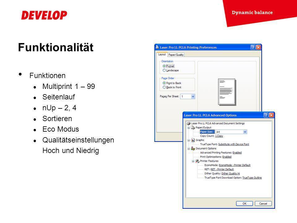 Funktionalität Funktionen Multiprint 1 – 99 Seitenlauf nUp – 2, 4