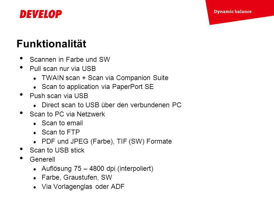 Funktionalität Scannen in Farbe und SW Pull scan nur via USB