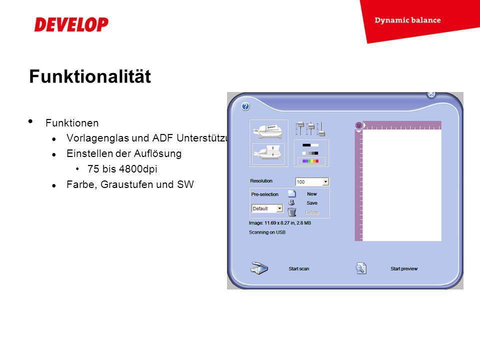 Funktionalität Funktionen Vorlagenglas und ADF Unterstützung