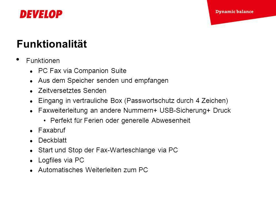 Funktionalität Funktionen PC Fax via Companion Suite