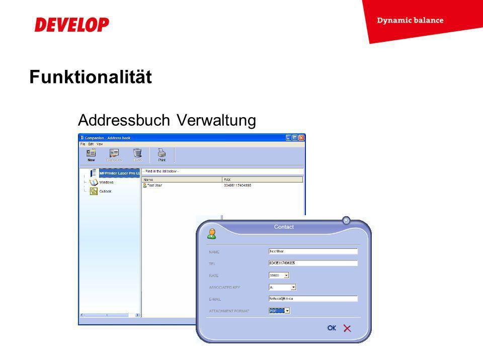 Funktionalität Addressbuch Verwaltung