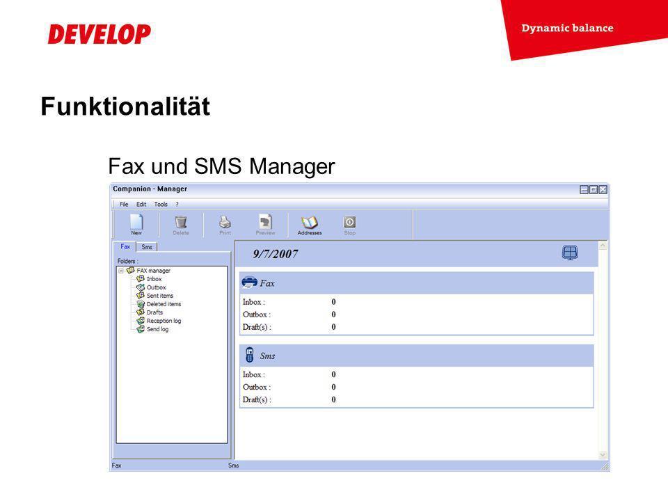 Funktionalität Fax und SMS Manager