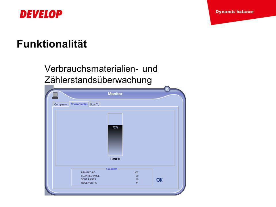 Funktionalität Verbrauchsmaterialien- und Zählerstandsüberwachung