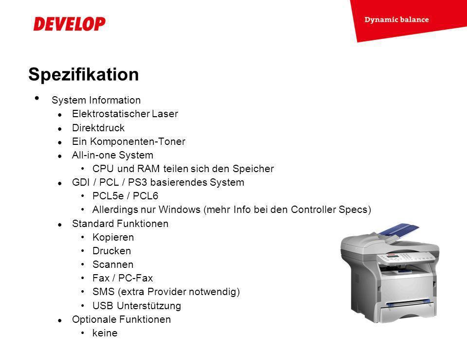 Spezifikation System Information Elektrostatischer Laser Direktdruck