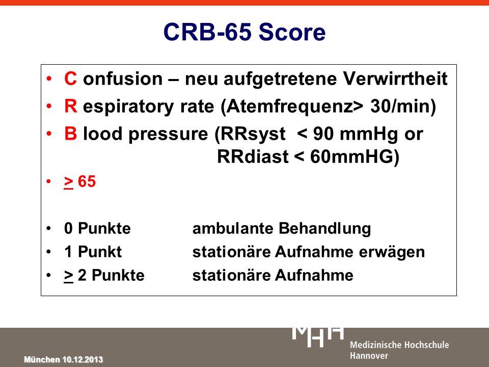 CRB-65 Score C onfusion – neu aufgetretene Verwirrtheit
