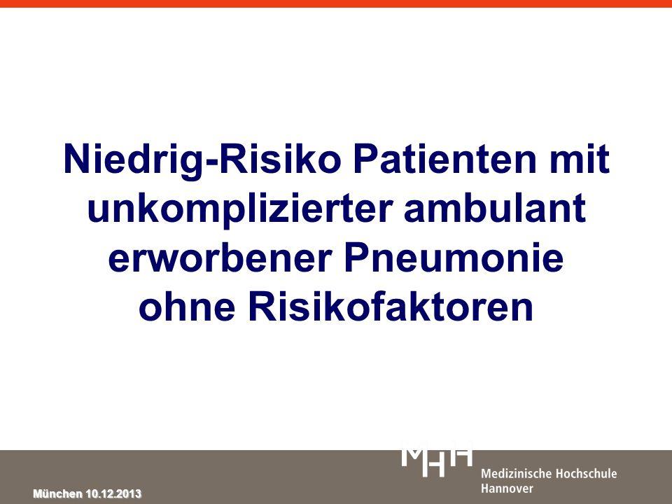 Niedrig-Risiko Patienten mit unkomplizierter ambulant erworbener Pneumonie ohne Risikofaktoren