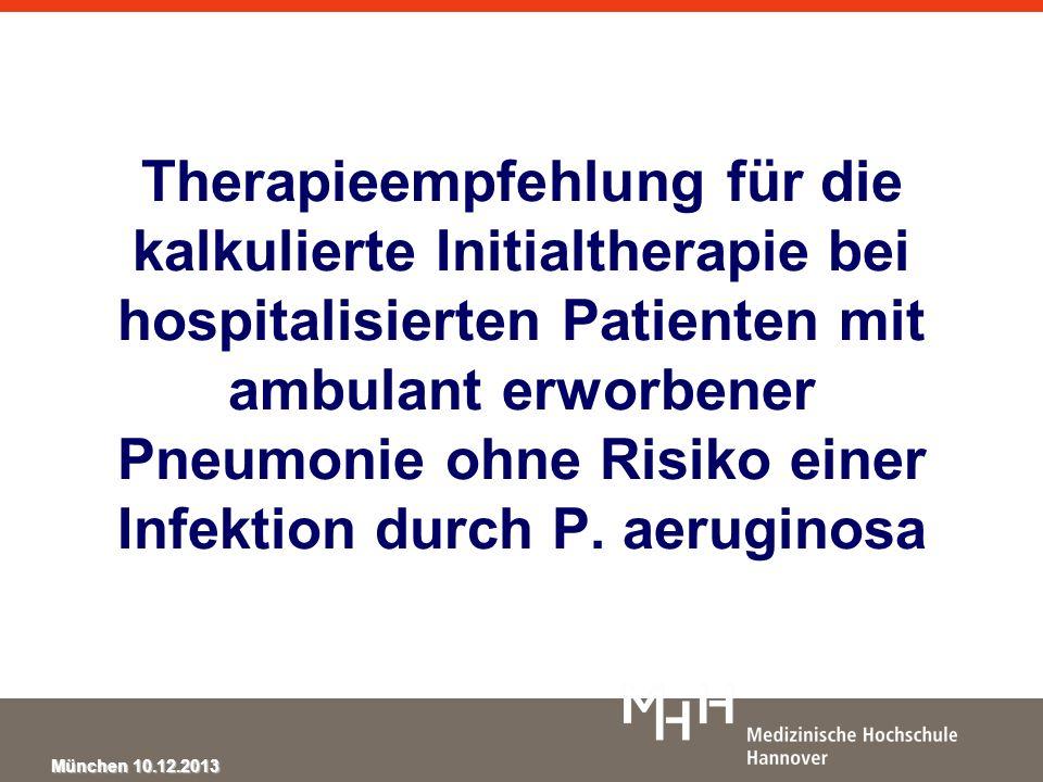 Therapieempfehlung für die kalkulierte Initialtherapie bei hospitalisierten Patienten mit ambulant erworbener Pneumonie ohne Risiko einer Infektion durch P.