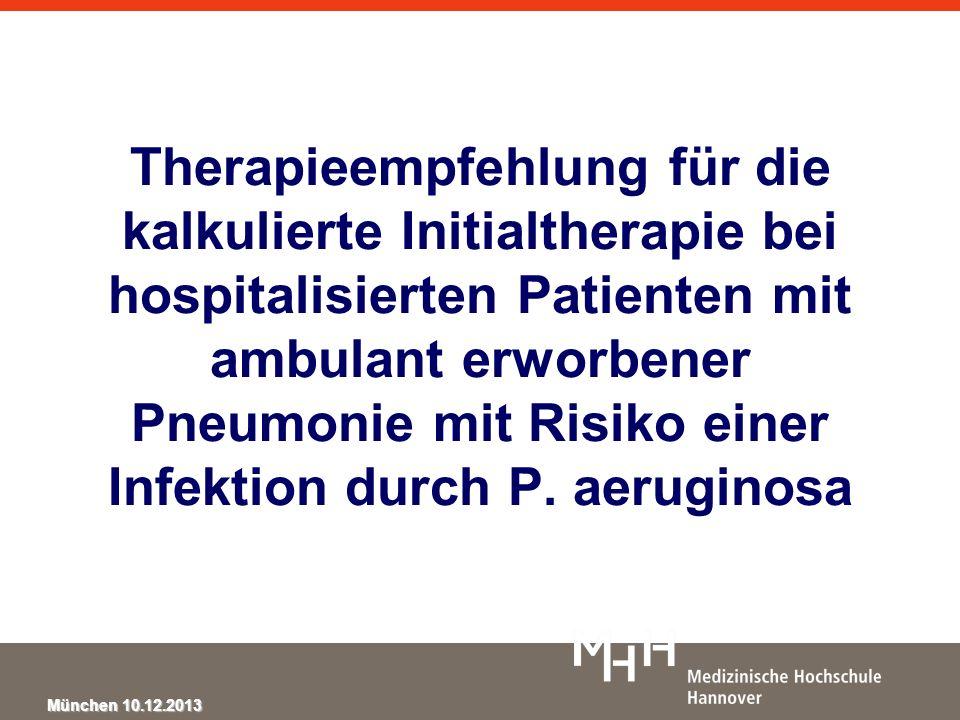 Therapieempfehlung für die kalkulierte Initialtherapie bei hospitalisierten Patienten mit ambulant erworbener Pneumonie mit Risiko einer Infektion durch P.