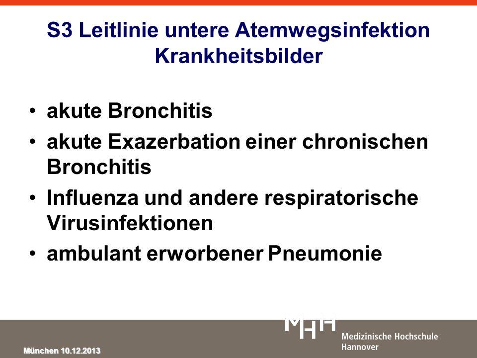 S3 Leitlinie untere Atemwegsinfektion Krankheitsbilder