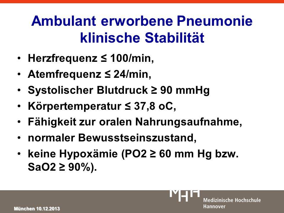 Ambulant erworbene Pneumonie klinische Stabilität