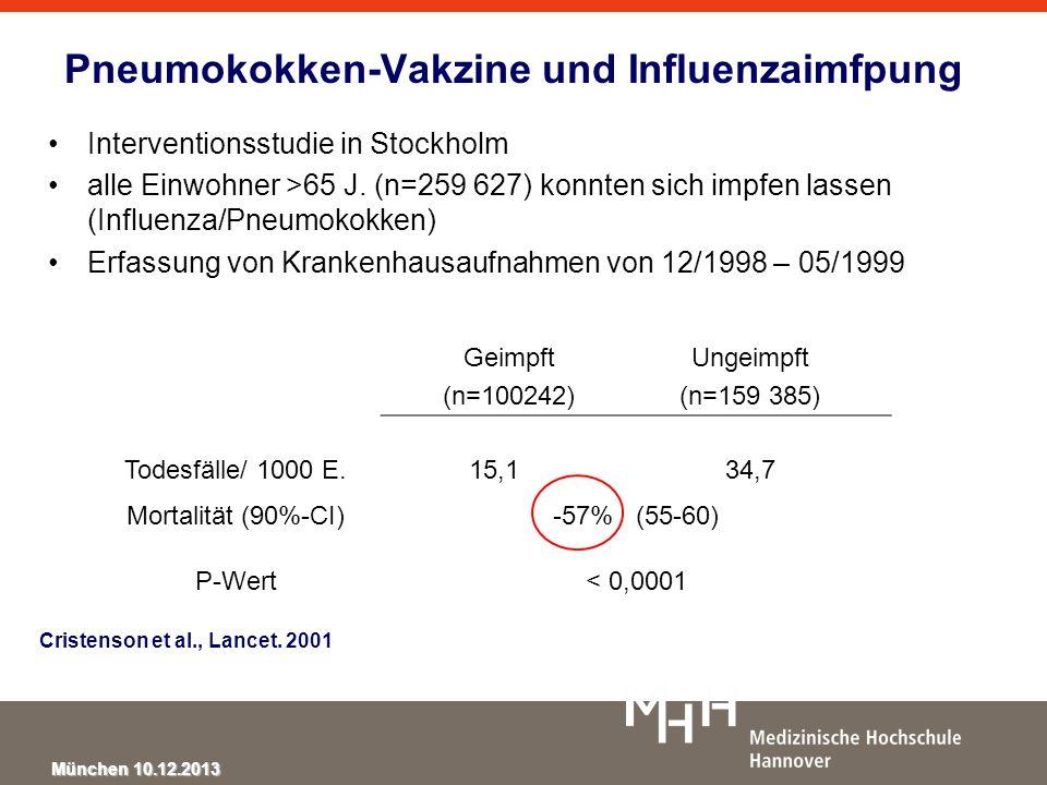 Pneumokokken-Vakzine und Influenzaimfpung