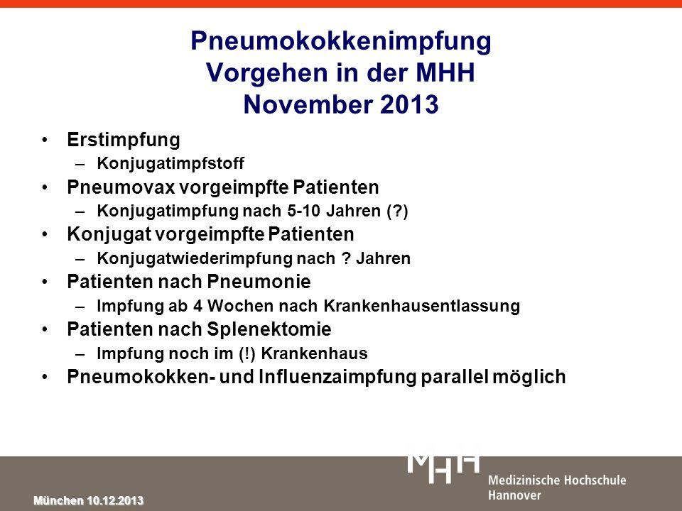 Pneumokokkenimpfung Vorgehen in der MHH November 2013
