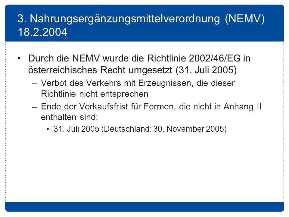3. Nahrungsergänzungsmittelverordnung (NEMV) 18.2.2004
