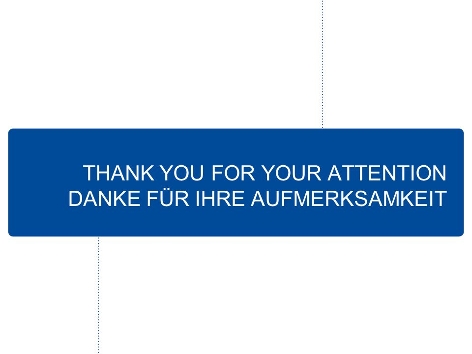 THANK YOU FOR YOUR ATTENTION DANKE FÜR IHRE AUFMERKSAMKEIT