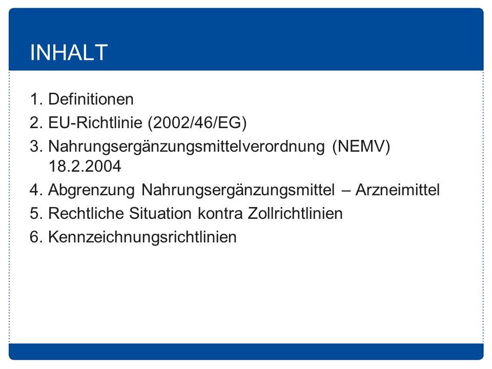 INHALT 1. Definitionen 2. EU-Richtlinie (2002/46/EG)