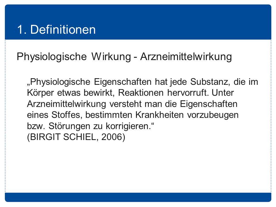 1. Definitionen Physiologische Wirkung - Arzneimittelwirkung
