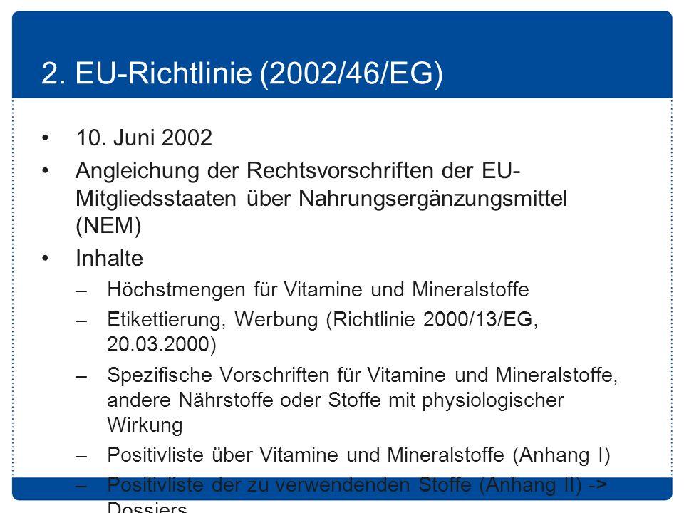 2. EU-Richtlinie (2002/46/EG) 10. Juni 2002