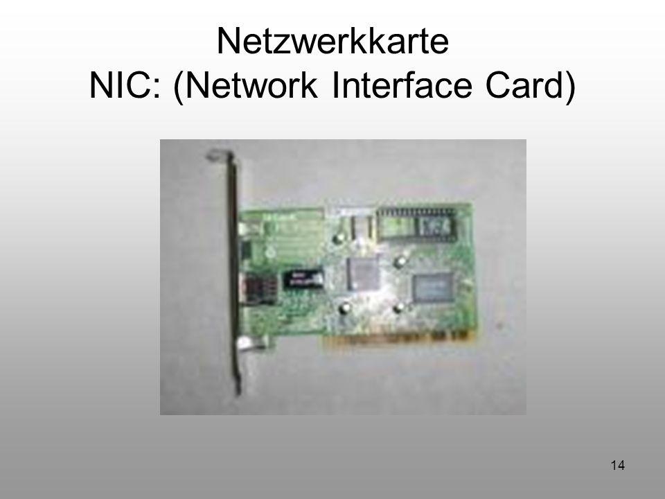 Netzwerkkarte NIC: (Network Interface Card)