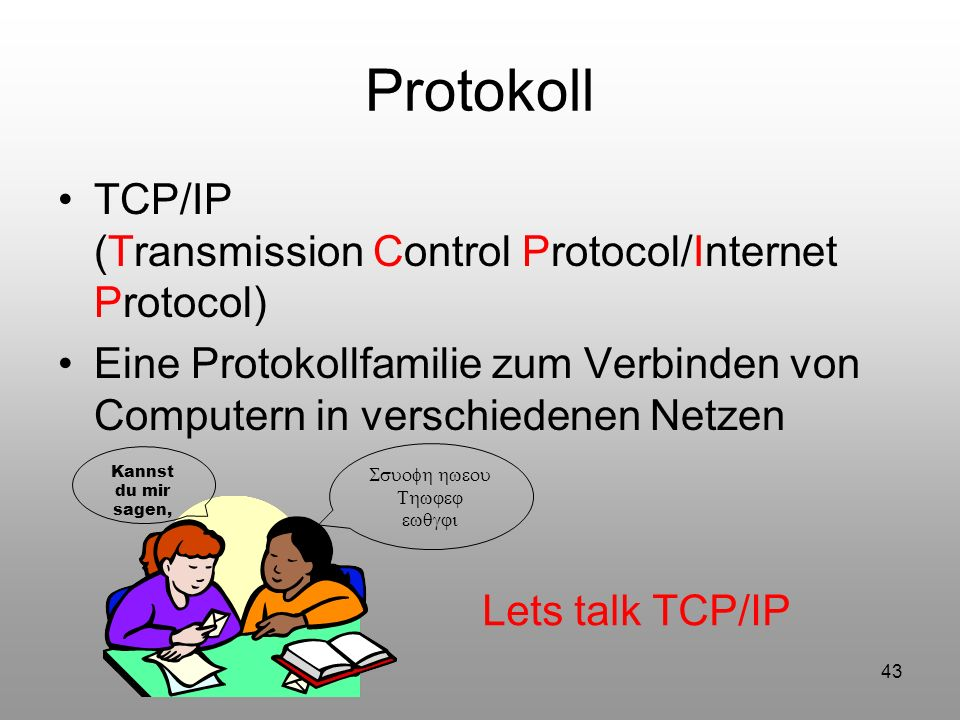 Protokoll TCP/IP (Transmission Control Protocol/Internet Protocol)