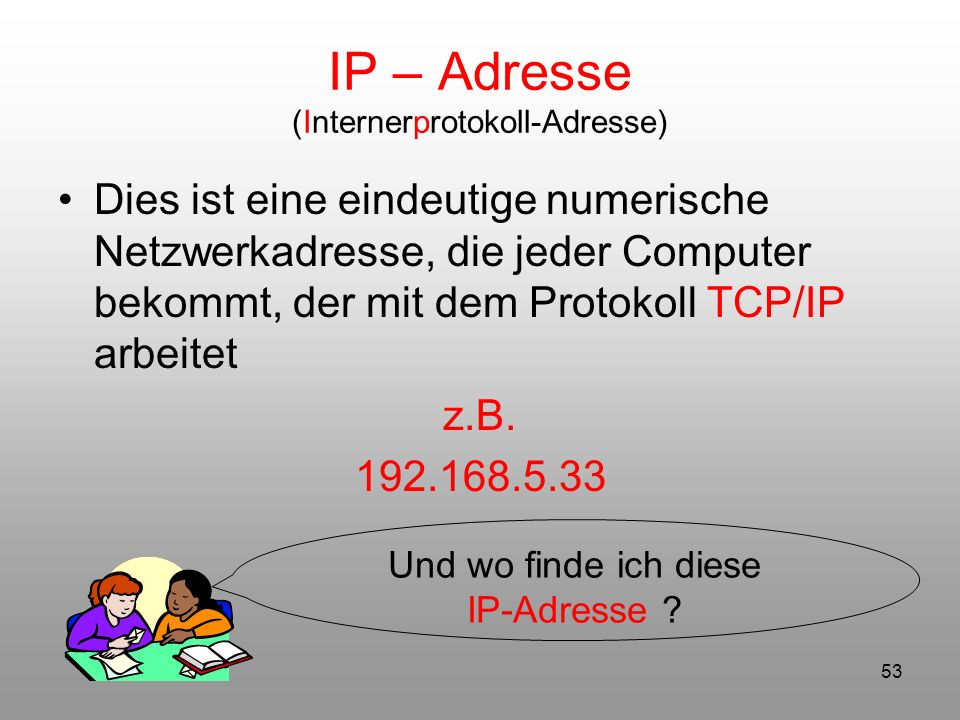 IP – Adresse (Internerprotokoll-Adresse)