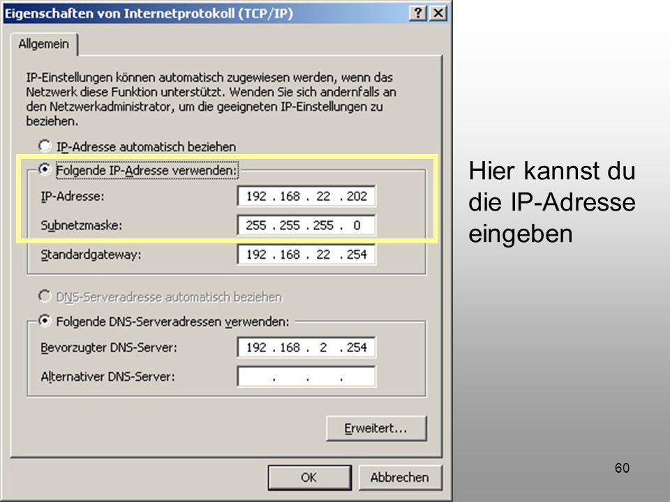 Hier kannst du die IP-Adresse eingeben