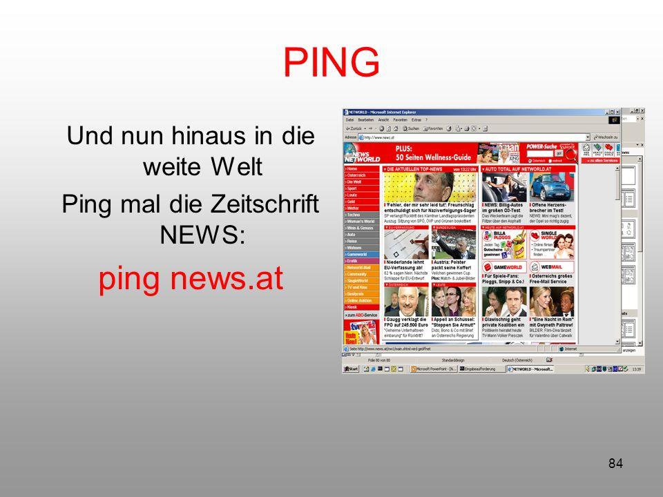 PING ping news.at Und nun hinaus in die weite Welt