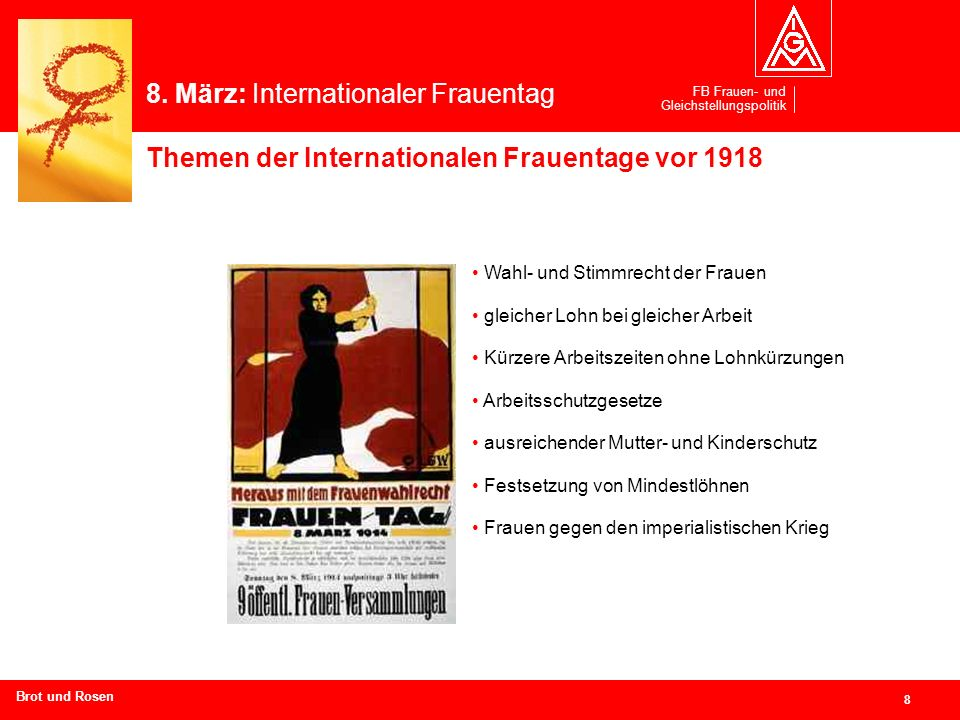 8. März: Internationaler Frauentag