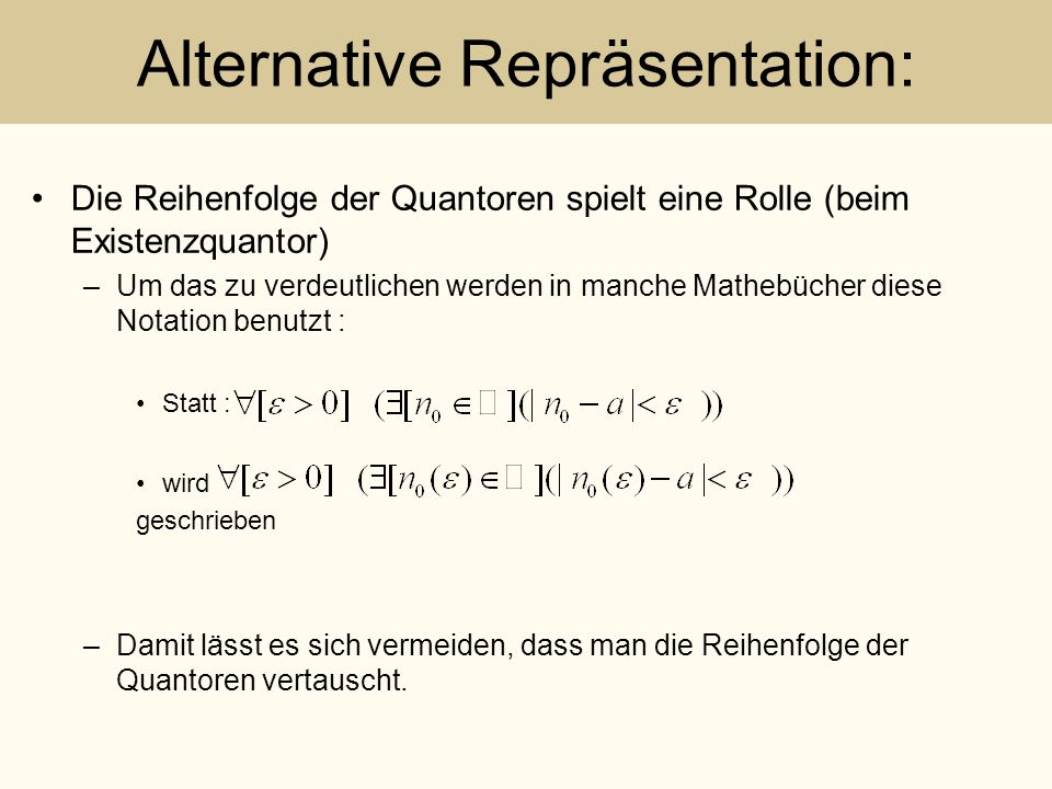Alternative Repräsentation: