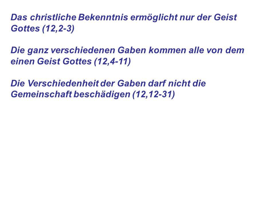 Das christliche Bekenntnis ermöglicht nur der Geist Gottes (12,2-3)