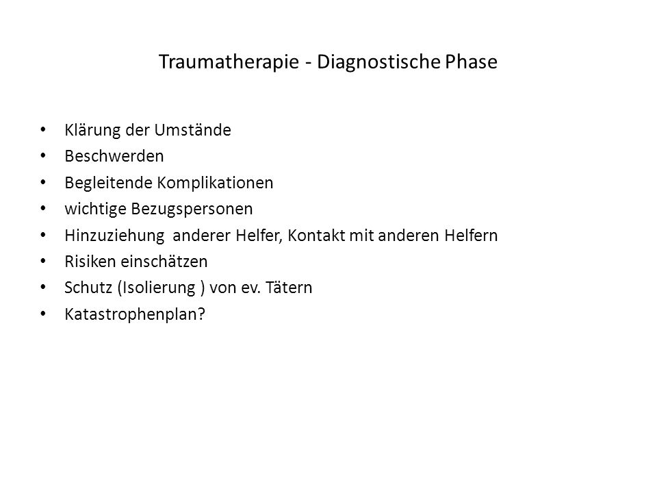 Traumatherapie - Diagnostische Phase