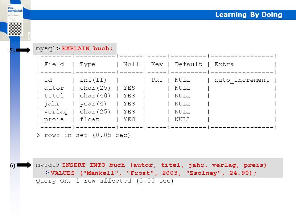 mysql> EXPLAIN buch;