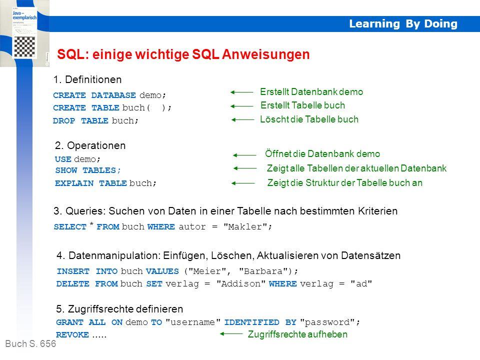 SQL: einige wichtige SQL Anweisungen