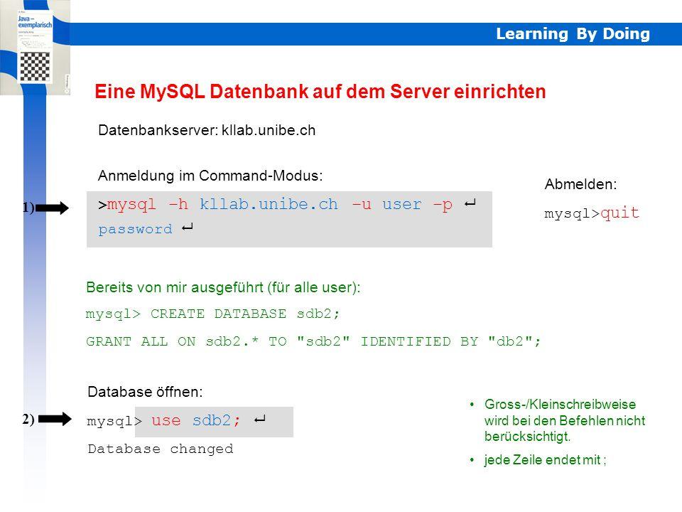 Eine MySQL Datenbank auf dem Server einrichten
