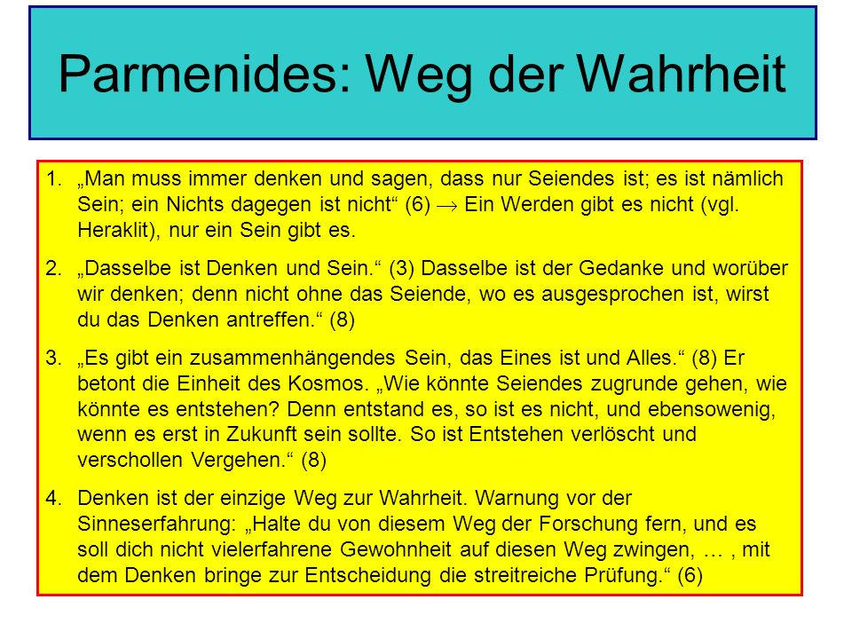 Parmenides: Weg der Wahrheit