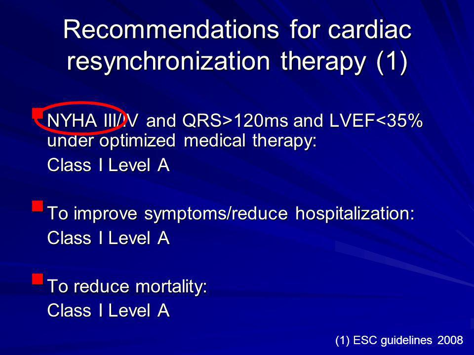 Recommendations for cardiac resynchronization therapy (1)