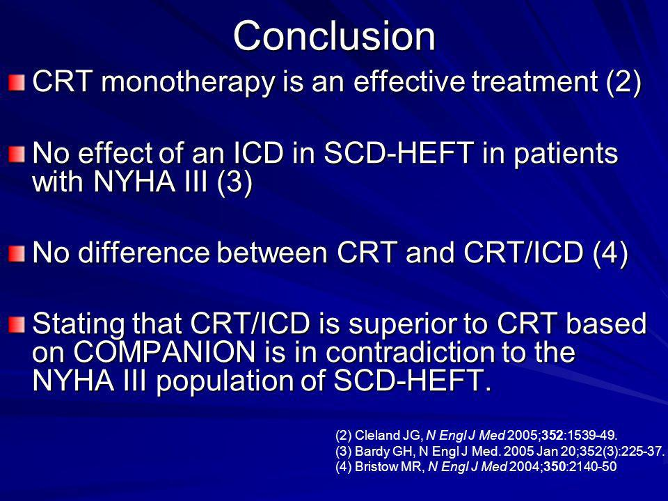 Conclusion CRT monotherapy is an effective treatment (2)