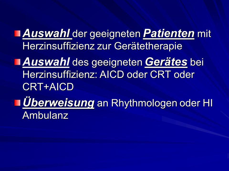 Auswahl der geeigneten Patienten mit Herzinsuffizienz zur Gerätetherapie