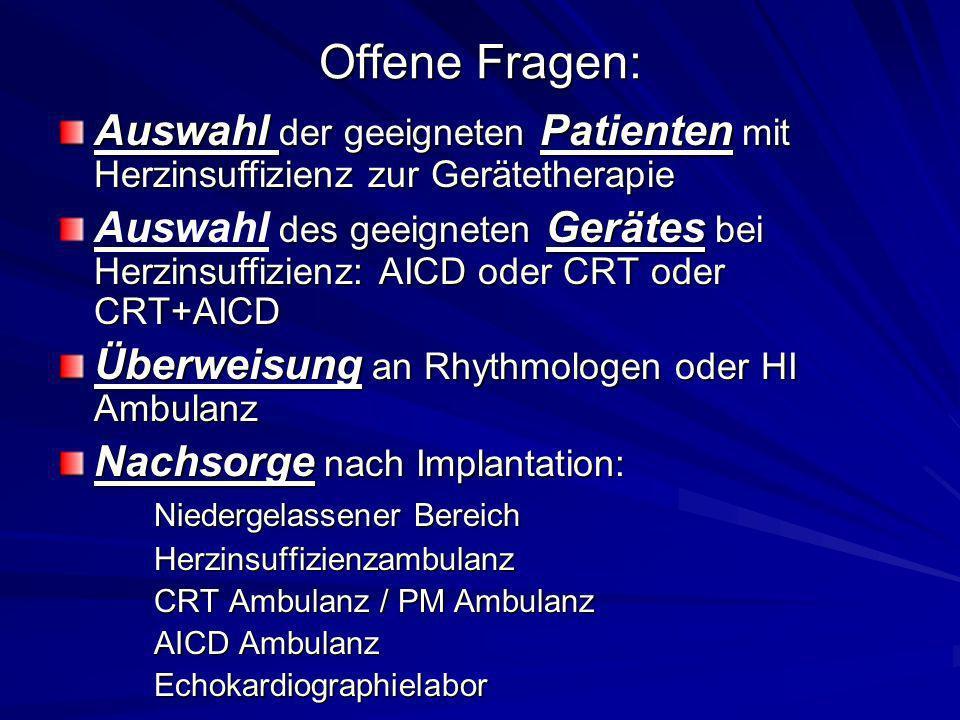 Offene Fragen: Auswahl der geeigneten Patienten mit Herzinsuffizienz zur Gerätetherapie.