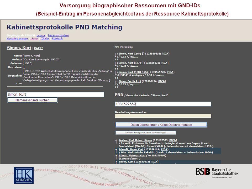 Versorgung biographischer Ressourcen mit GND-IDs
