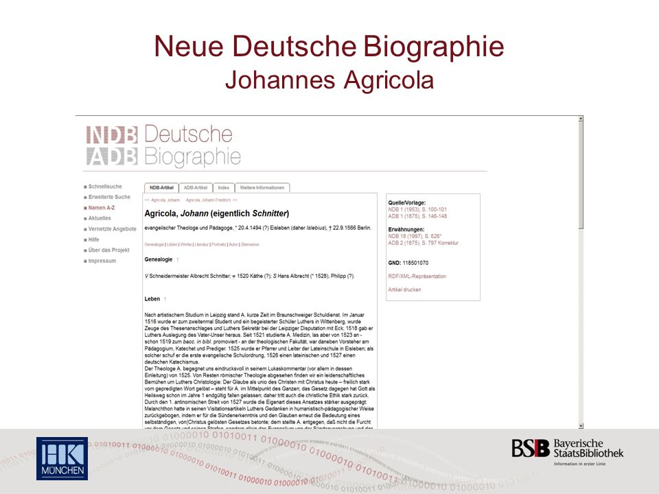 Neue Deutsche Biographie Johannes Agricola