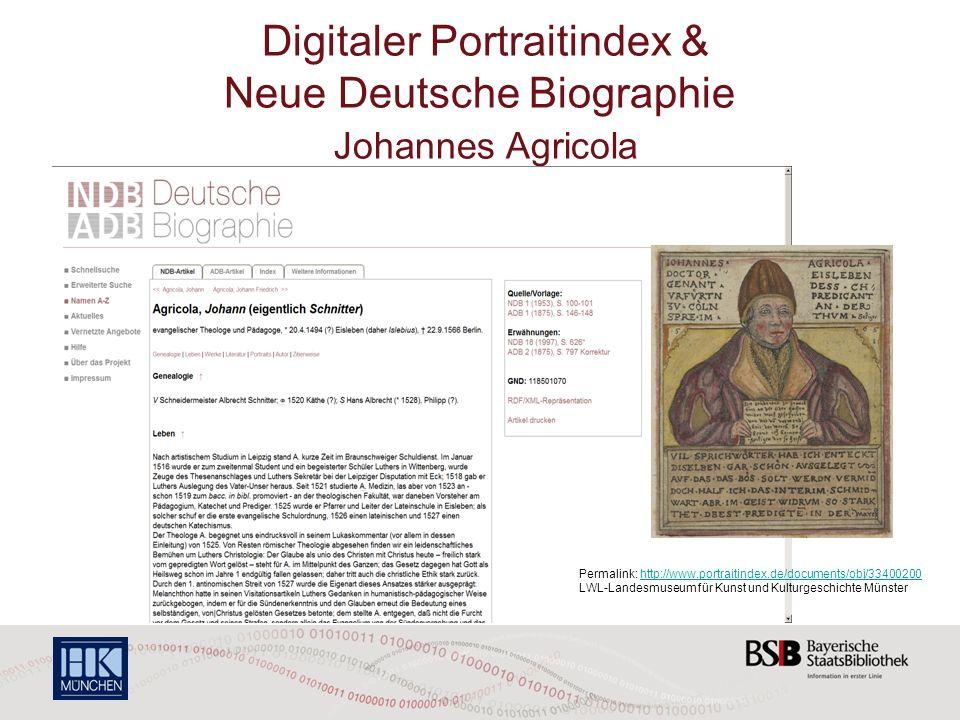 Digitaler Portraitindex & Neue Deutsche Biographie Johannes Agricola