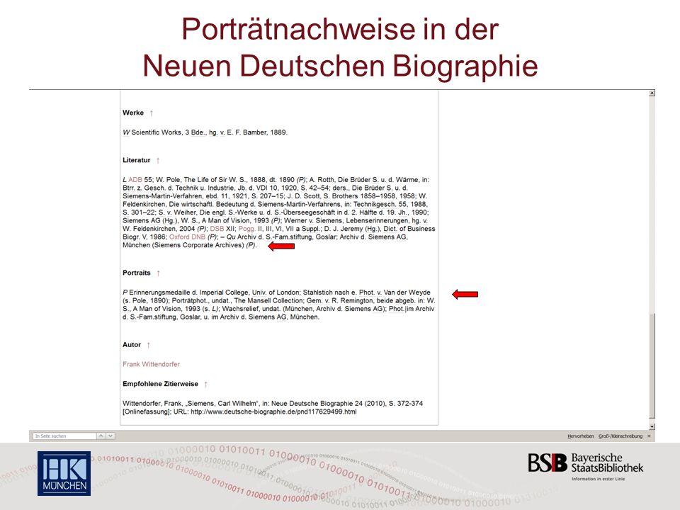 Porträtnachweise in der Neuen Deutschen Biographie
