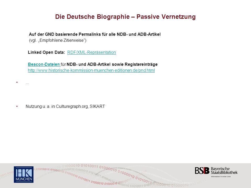 Die Deutsche Biographie – Passive Vernetzung
