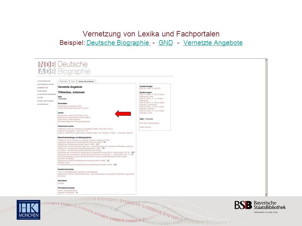 Vernetzung von Lexika und Fachportalen Beispiel: Deutsche Biographie - GND - Vernetzte Angebote