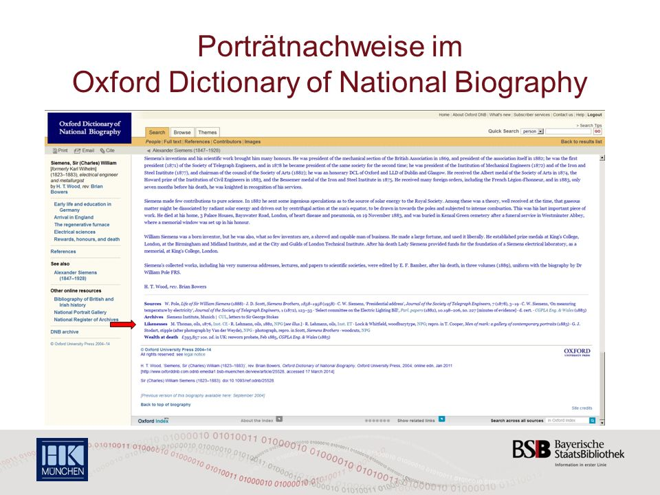 Porträtnachweise im Oxford Dictionary of National Biography