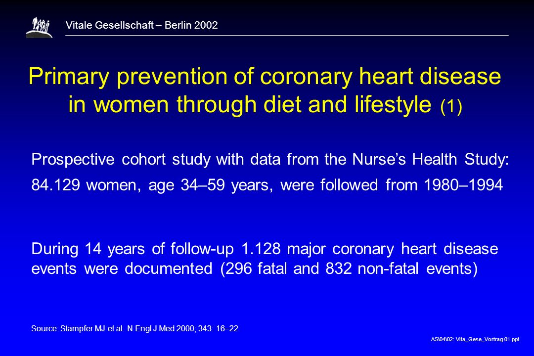 1 Primary prevention of coronary heart disease in women through diet and lifestyle (1)