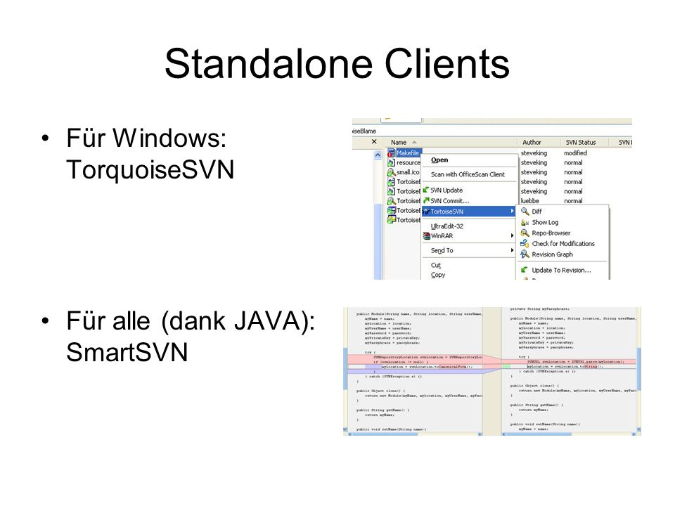 Standalone Clients Für Windows: TorquoiseSVN