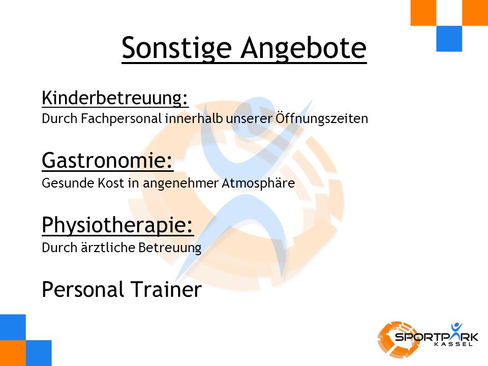 Sonstige Angebote Gastronomie: Physiotherapie: Personal Trainer