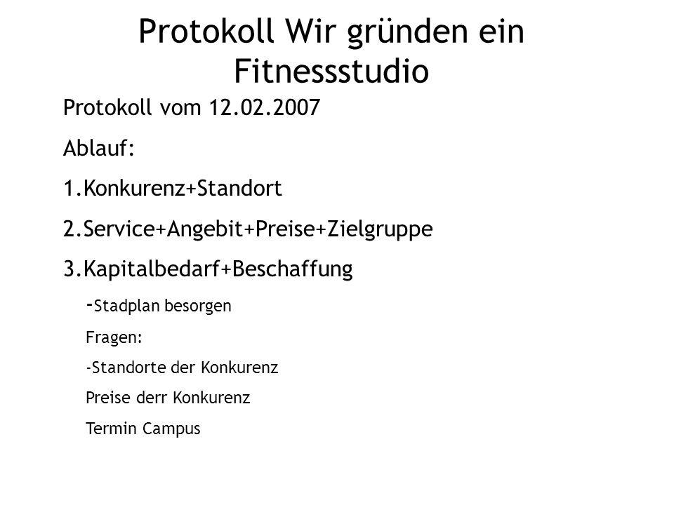 Protokoll Wir gründen ein Fitnessstudio